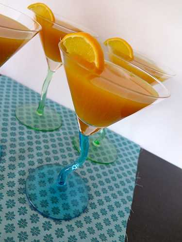 Cocktail de St Valentin, au fruit de la passion, gingembre & mangue