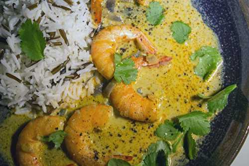 Gambas en curry Thai