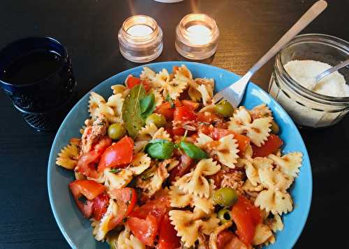 Recipe Farfalle with Tomatoes & chicken // Farfalle aux Tomates & poulet recette • Justine Cuisine   •   Share the food, share the love !